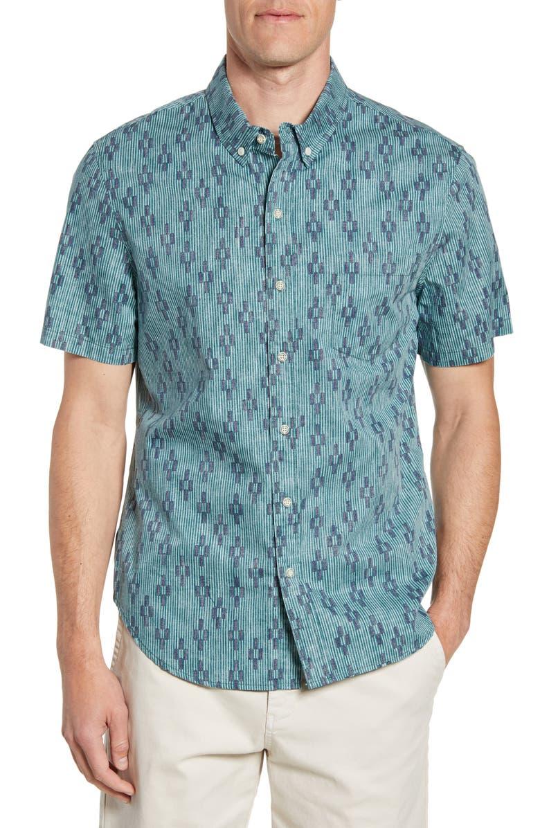 REYN SPOONER Naha Kasuri Tailored Fit Short Sleeve Button-Down Shirt, Main, color, PACIFIC