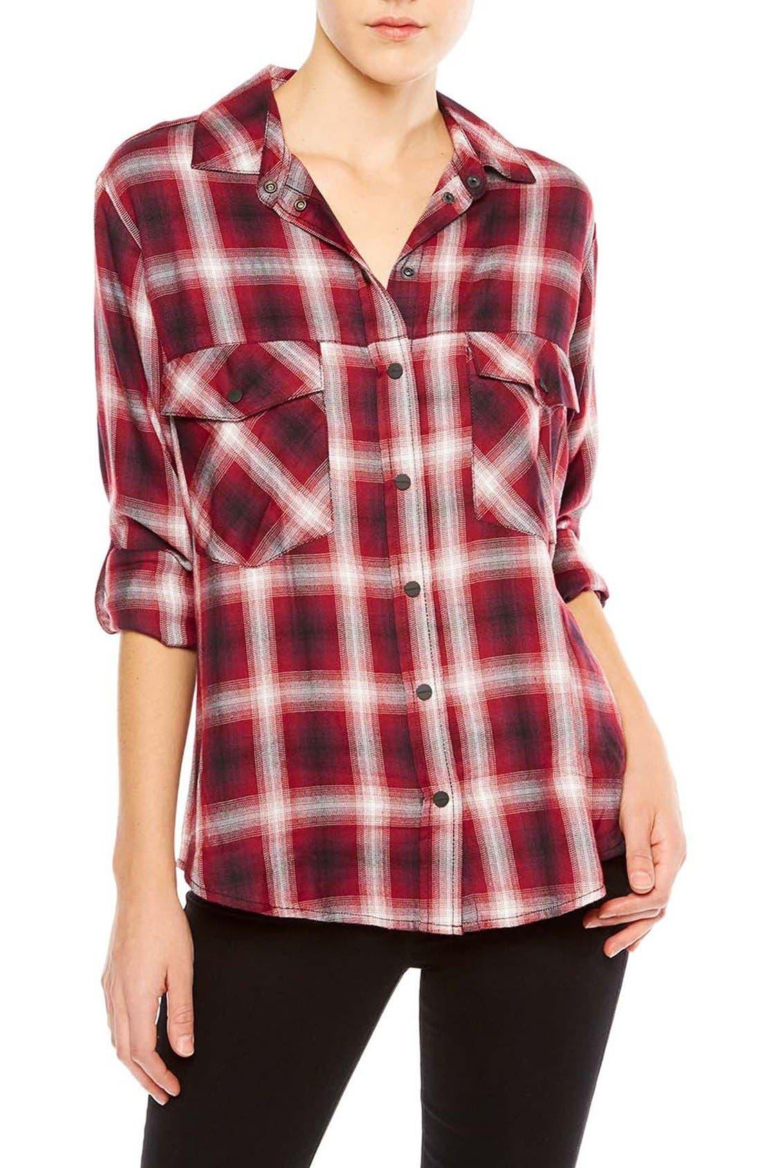 ,                             Plaid Flannel Boyfriend Shirt,                             Main thumbnail 9, color,                             601