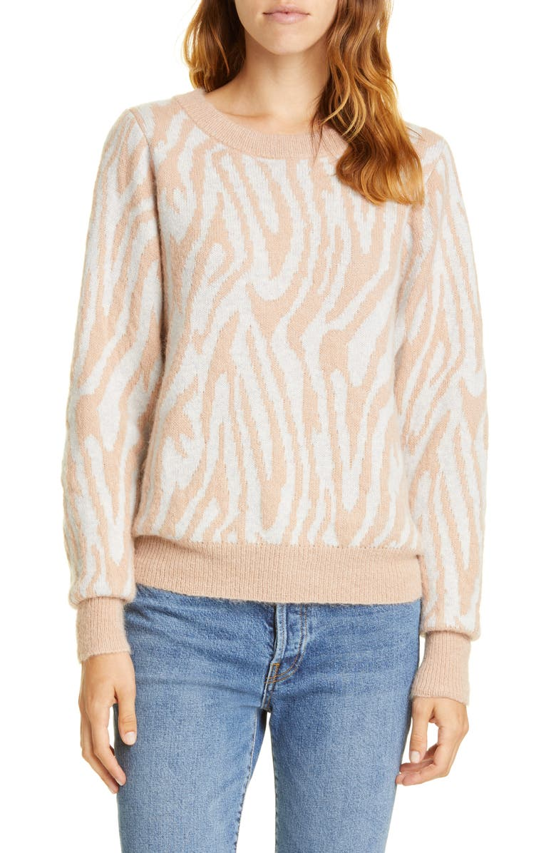 REBECCA TAYLOR Tiger Stripe Merino Wool Blend Sweater, Main, color, GREY/ CAMEL