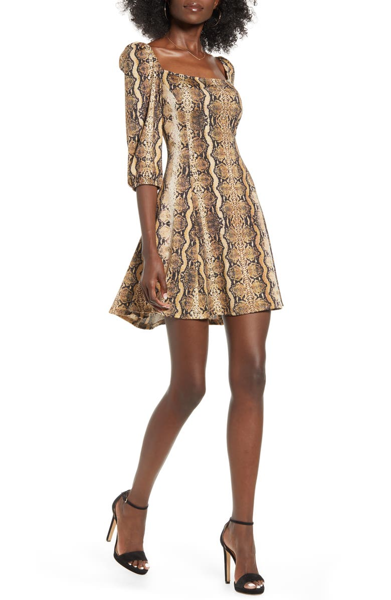 SPEECHLESS Snakeprint Fit & Flare Dress, Main, color, CAMEL BROWN