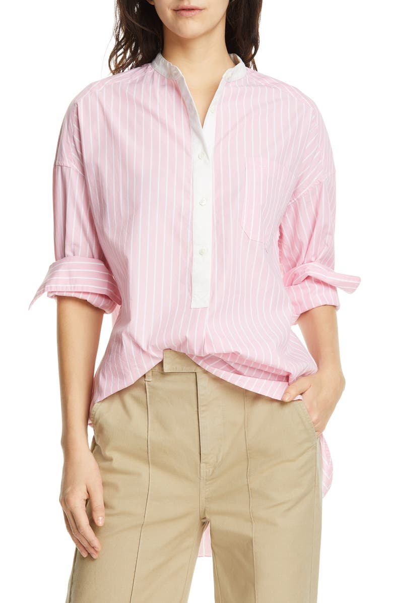 ALEX MILL Lisboa Stripe Shirttail Tunic, Main, color, PINK