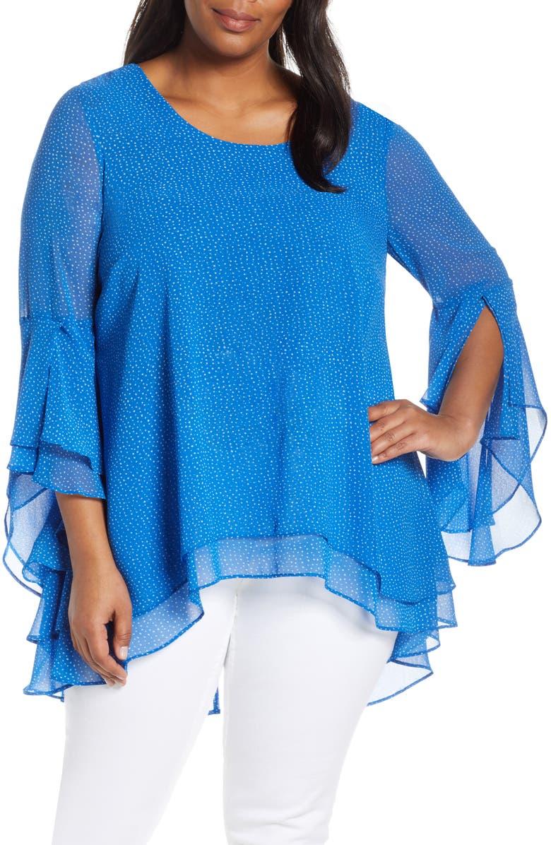 ESTELLE Micro Spot Ruffle Sleeve Blouse, Main, color, BLUE/ MILK