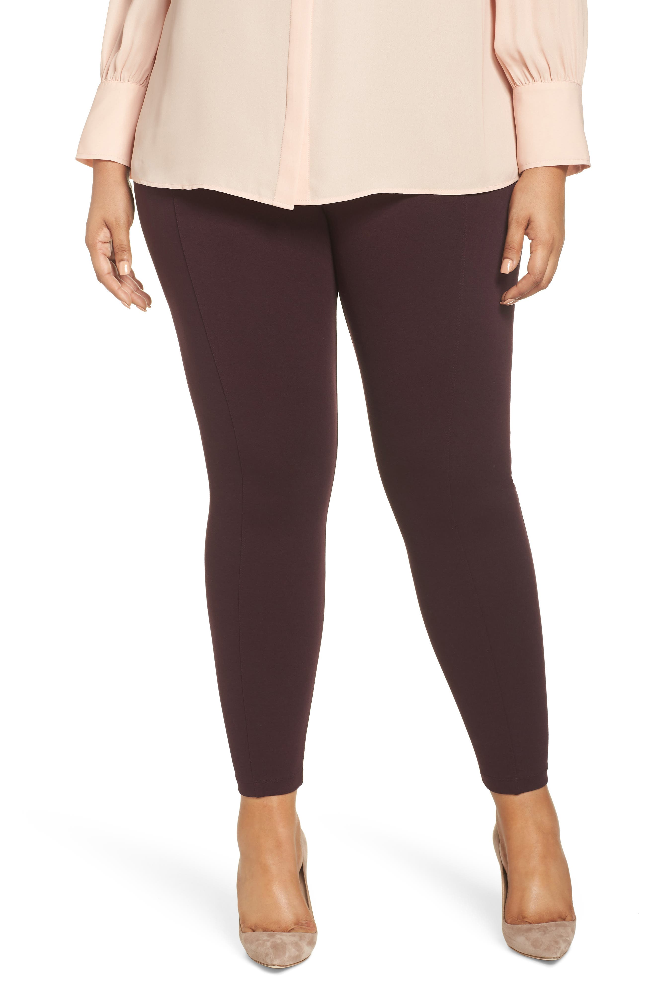 Pintucked seams elevate the sleek look of super-stretchy ponte leggings great for building casual or work ensembles. Style Name: Liverpool Reese Pintuck Ponte Leggings (Plus Size). Style Number: 5590391. Available in stores.