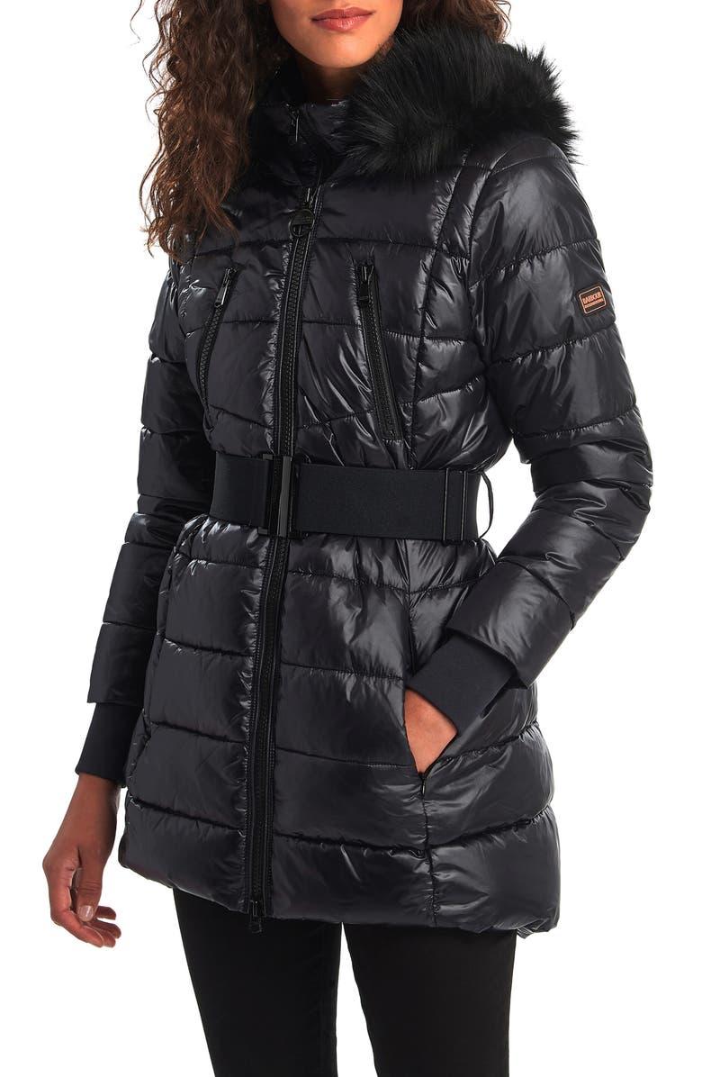 BARBOUR International Arena Faux Fur Trim Hooded Puffer Coat, Main, color, BLACK