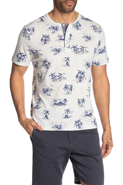 Image of Report Collection Palm Tree Print Short Sleeve Henley T-Shirt