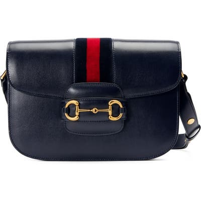 Gucci Small 1955 Horsebit Leather Shoulder Bag - Blue
