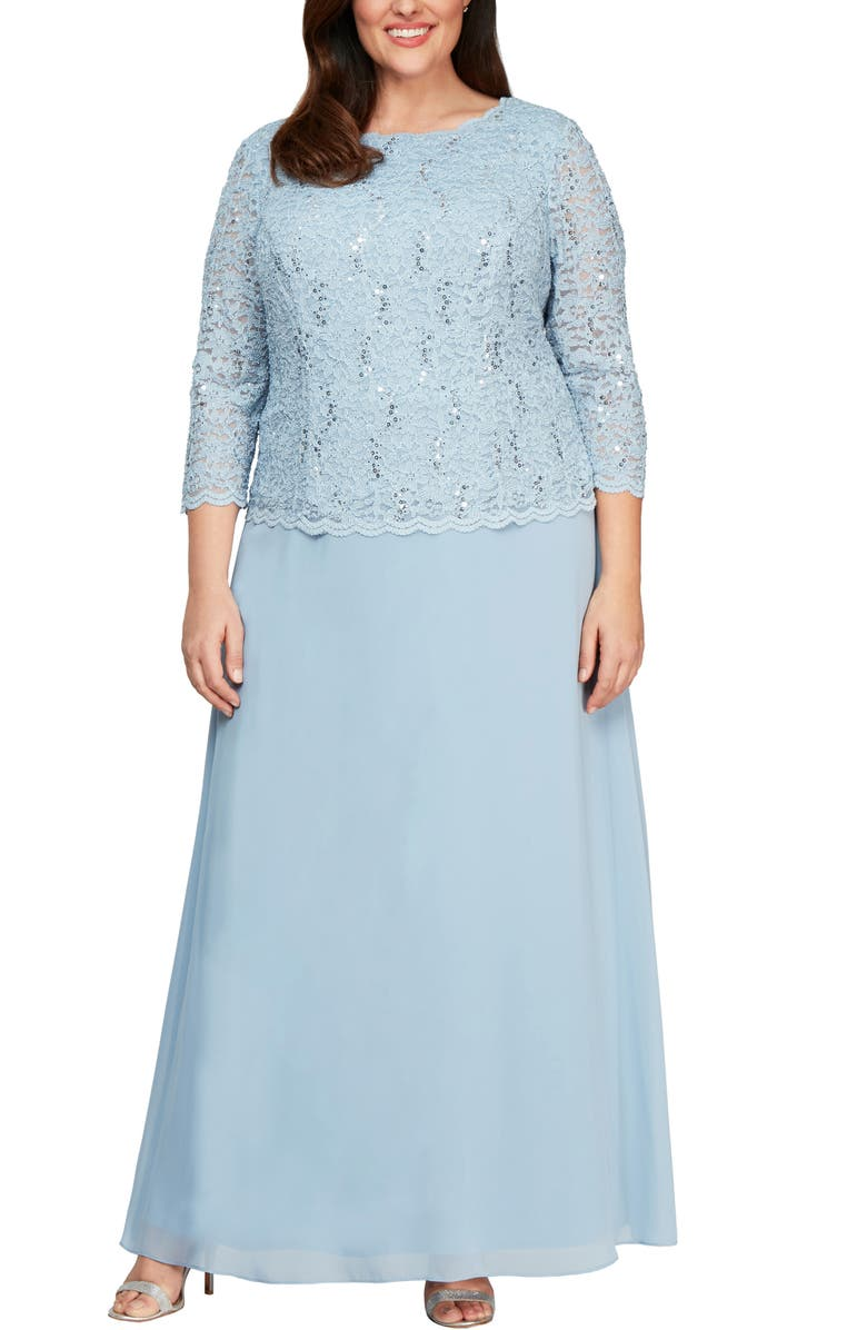 ALEX EVENINGS Embellished Lace & Chiffon Gown, Main, color, SKY BLUE