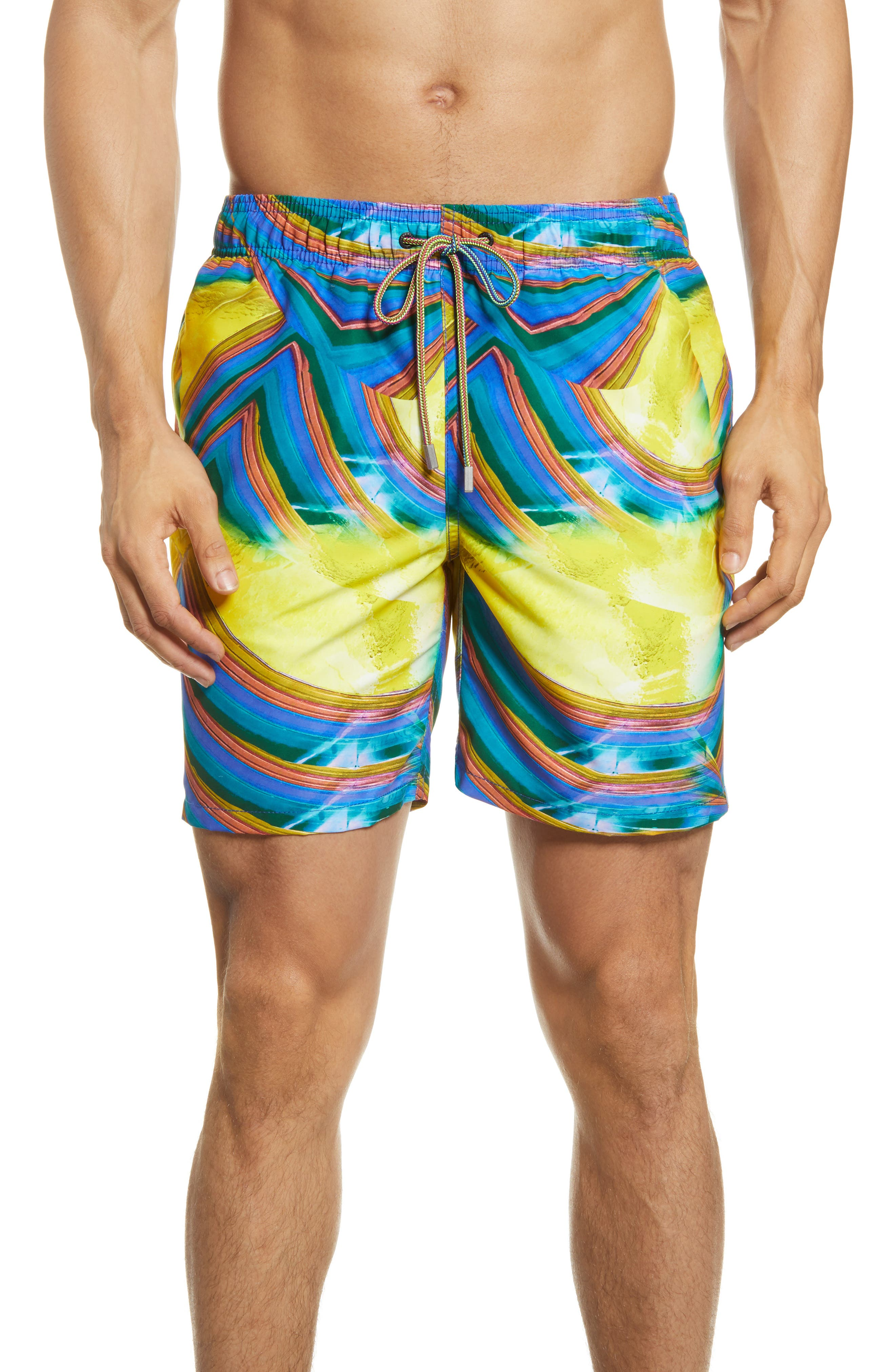 Abstract swirls splash in bright colors across swim trunks cut from lightweight, quick-drying nylon that offers comfort in and out of the water. Style Name: Bugatchi Nylon Swim Trunks. Style Number: 6039786. Available in stores.