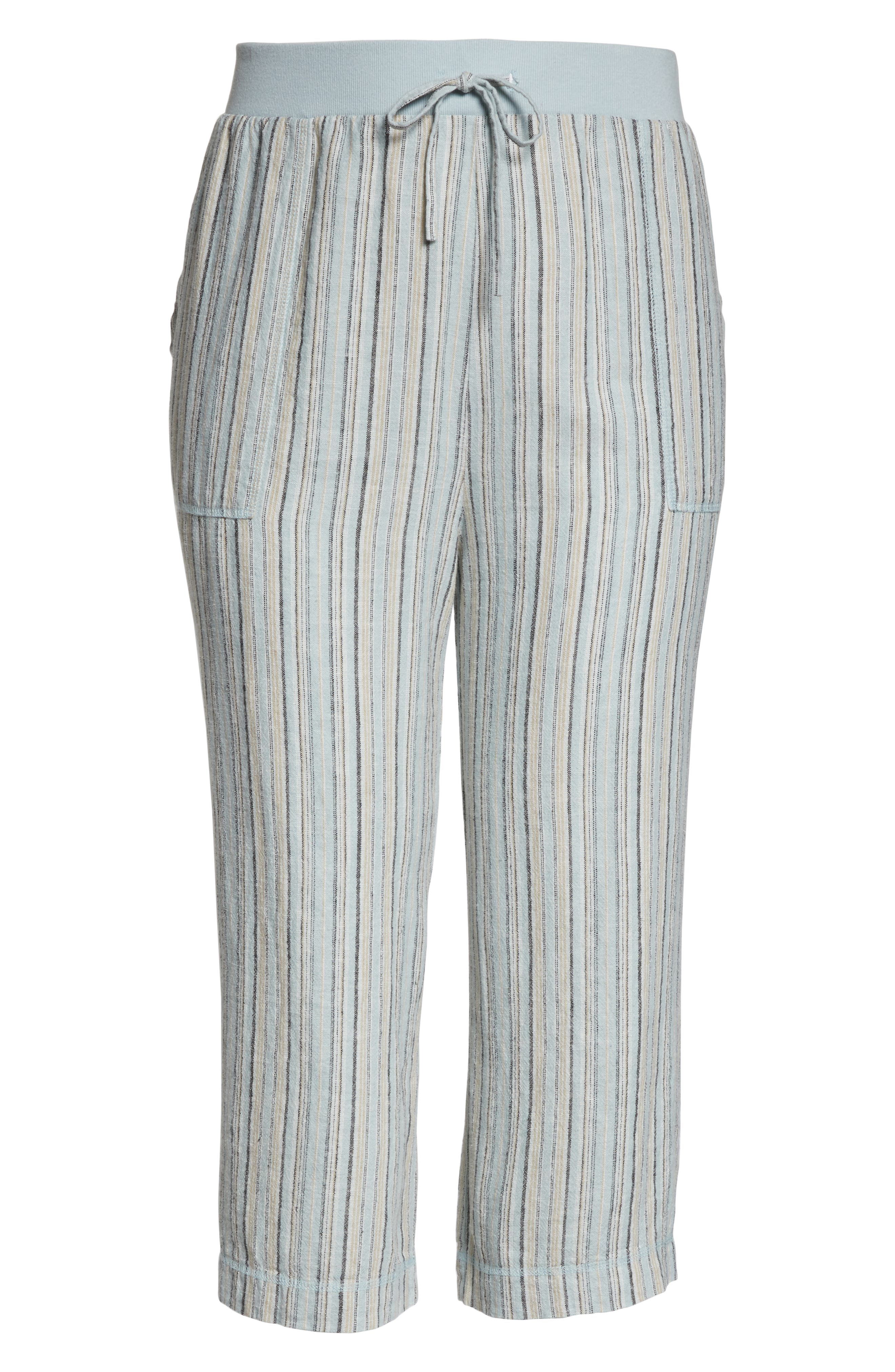 ,                             Stripe Crop Linen Blend Pants,                             Alternate thumbnail 13, color,                             450