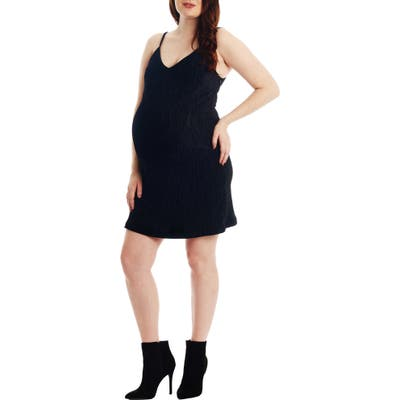 Everly Grey Aurora Plisse Maternity/nursing Dress, Black