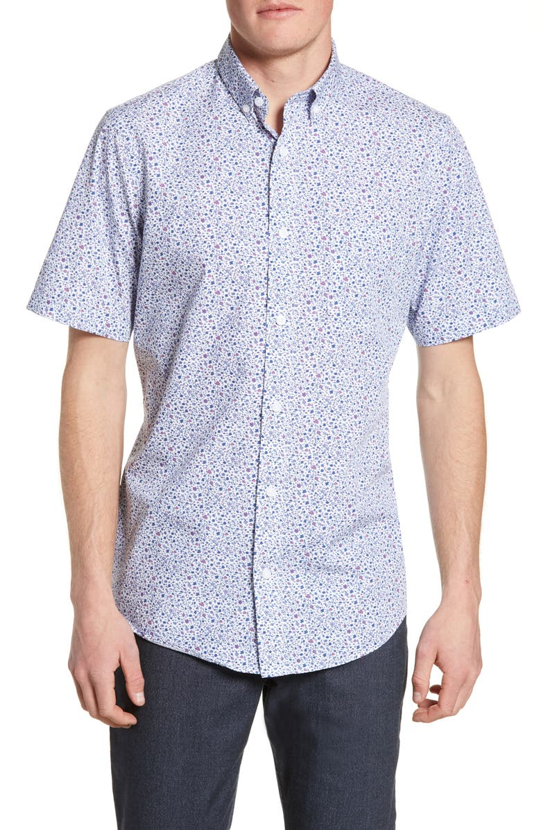 NORDSTROM MEN'S SHOP Regular Fit Geo Print Shirt, Main, color, WHITE RED DITSY FLORAL