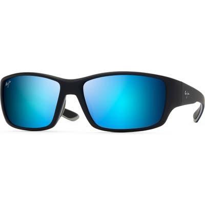 Maui Jim Local Kine 61mm Polarized Wraparound Sunglasses - Black/ Sea Blue/ Grey
