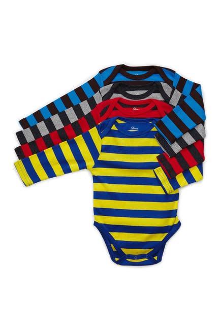 Image of Leveret Striped Long Sleeve Bodysuit - Pack of 4