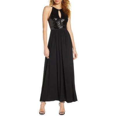Morgan & Co. Sequin A-Line Gown, Black