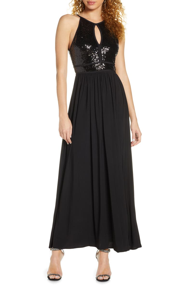 MORGAN & CO. Sequin A-Line Gown, Main, color, BLACK