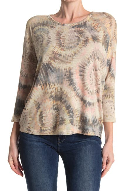 Image of Democracy Printed 3/4 Sleeve Knit Top