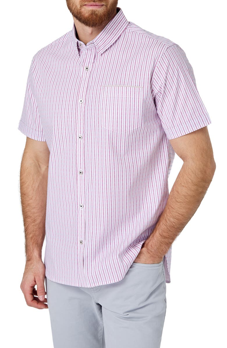 7 DIAMONDS Draw the Line Slim Fit Stripe Short Sleeve Button-Up Sport Shirt, Main, color, RED