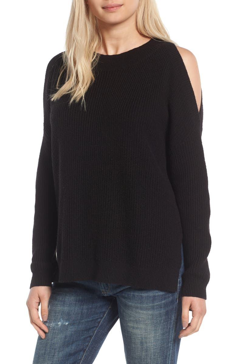 BP. Cold Shoulder Tunic Sweater, Main, color, 001