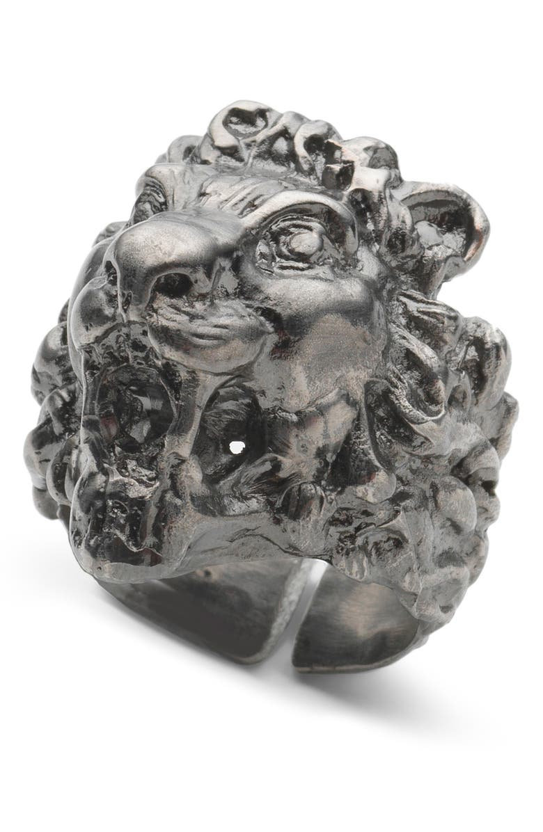 GUCCI Fashion Show Lion Head Ring, Main, color, SILVER