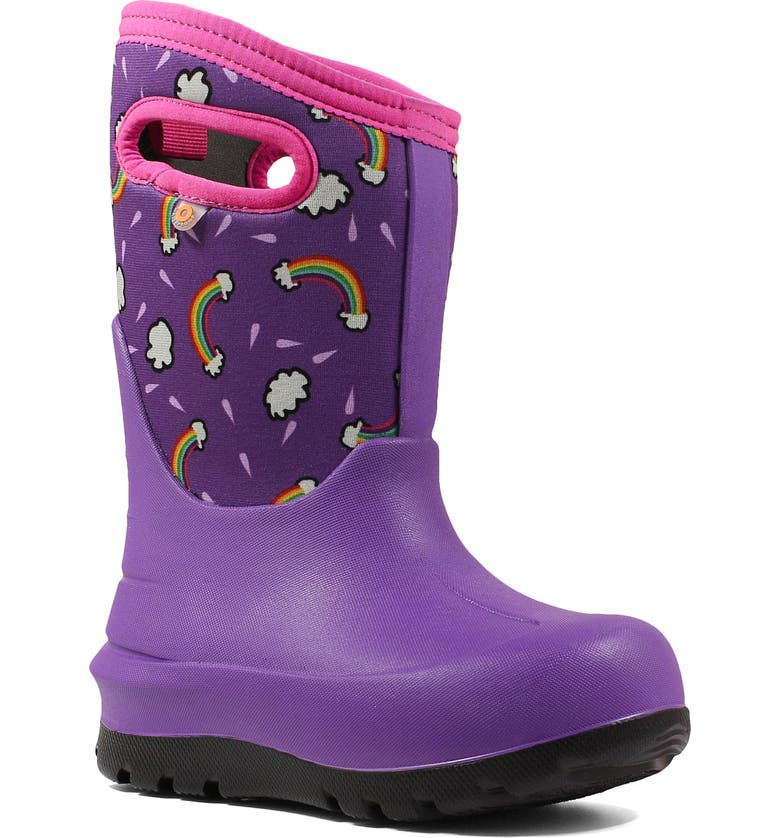 BOGS Neo-Classic Rainbows Insulated Waterproof Boot, Main, color, VIOLET MULTI