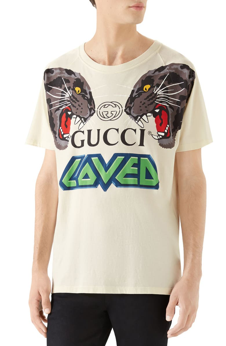 GUCCI Tiger Print T-Shirt, Main, color, SUNKISSED MULTICOLOR