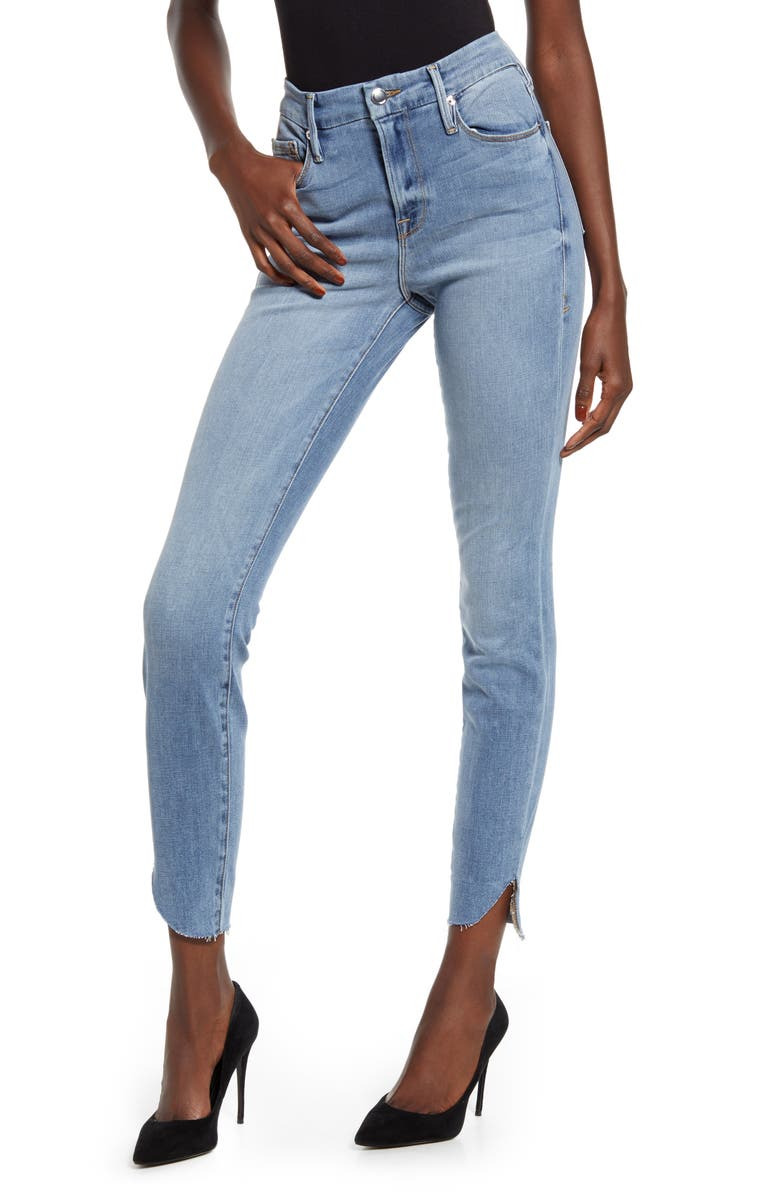 GOOD AMERICAN Good Legs High Waist Cascade Hem Skinny Jeans, Main, color, BLUE605