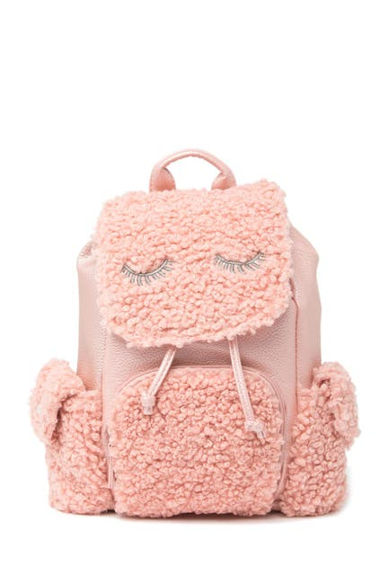 Image of Confetti Curly Eye Lashes Faux Shearling Mini Backpack