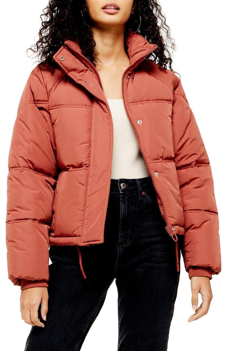 TOPSHOP Sasha Puffer Jacket, Main, color, ROSE