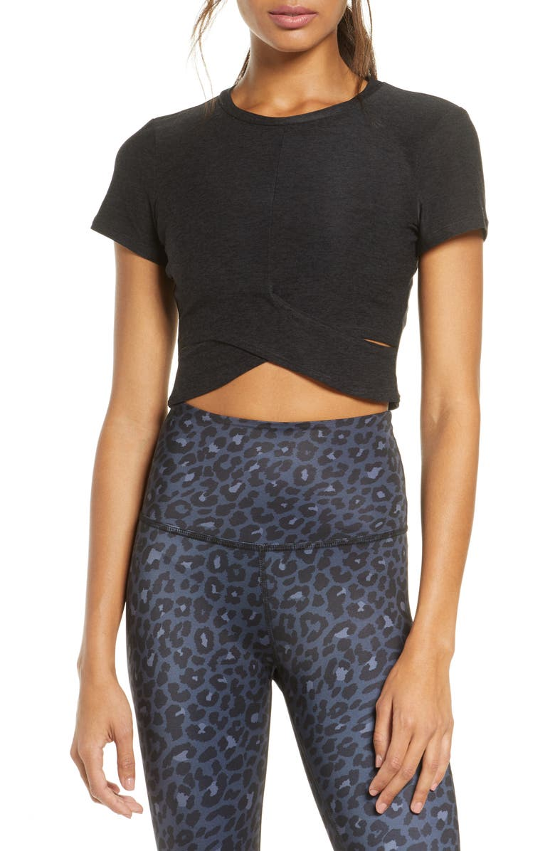 BEYOND YOGA Under Over Cropped T-Shirt, Main, color, 001