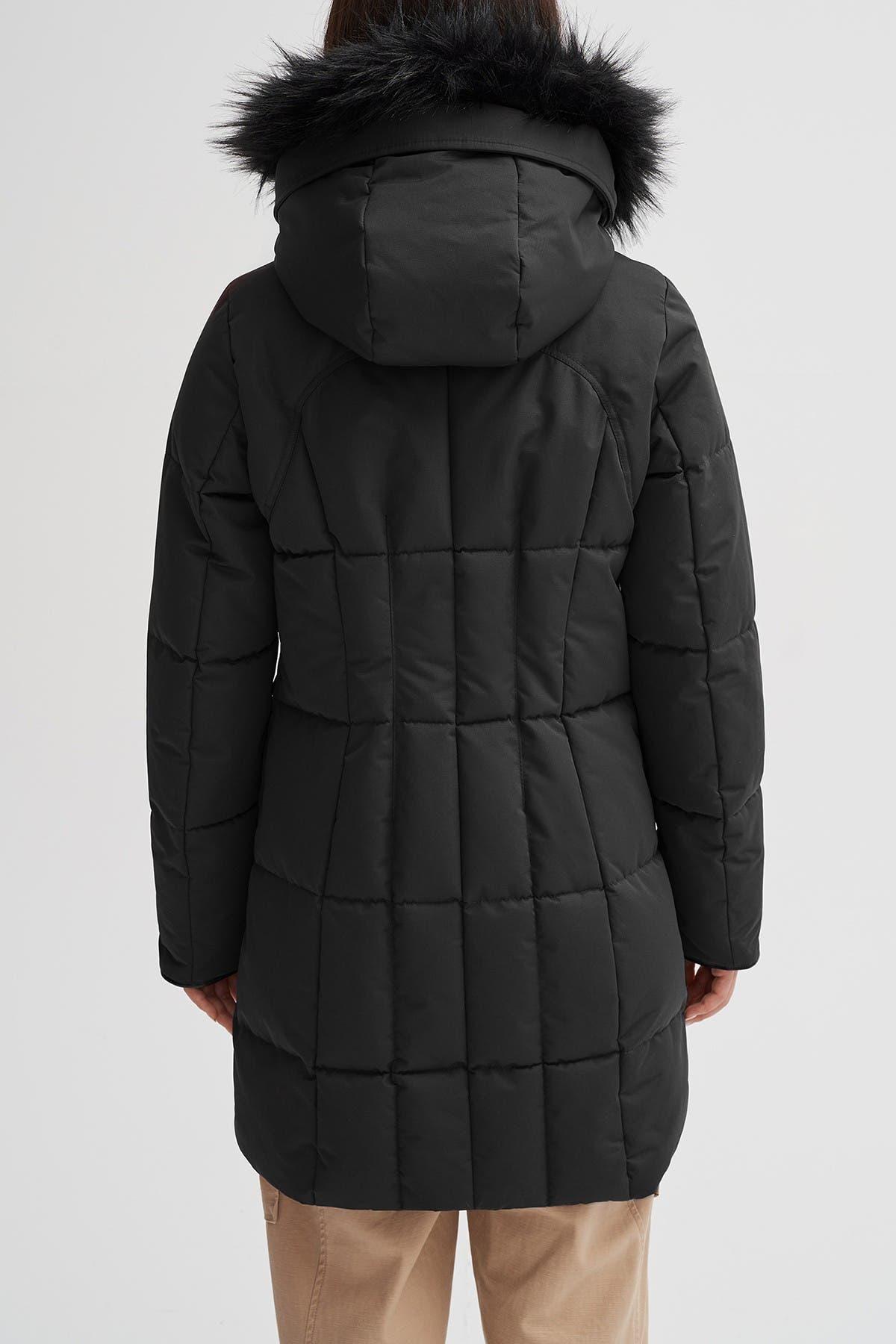 NOIZE Meg Faux Fur Trim Parka Coat