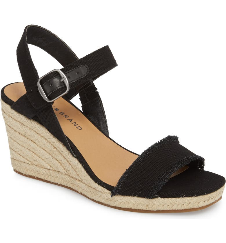 LUCKY BRAND Marceline Squared Toe Wedge Sandal, Main, color, 001