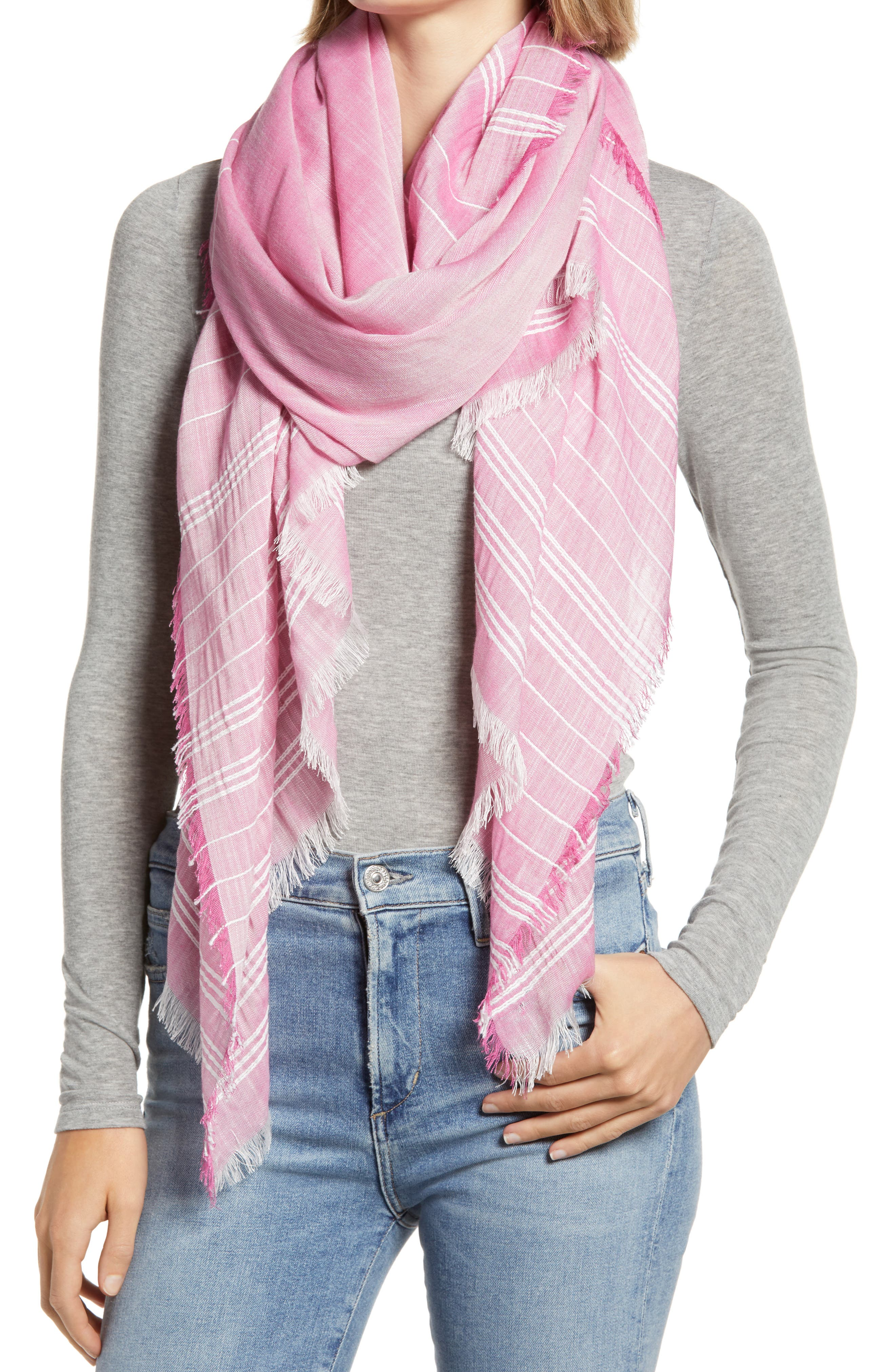 This striped, fringe-trimmed scarf made from a lightweight cotton blend is one of those season-spanning accessories that pulls together any outfit in a snap. When you buy Treasure & Bond, Nordstrom will donate 2.5% of net sales to organizations that work to empower youth. Style Name: Treasure & Bond Stripe Cotton Blend Scarf. Style Number: 5984696. Available in stores.