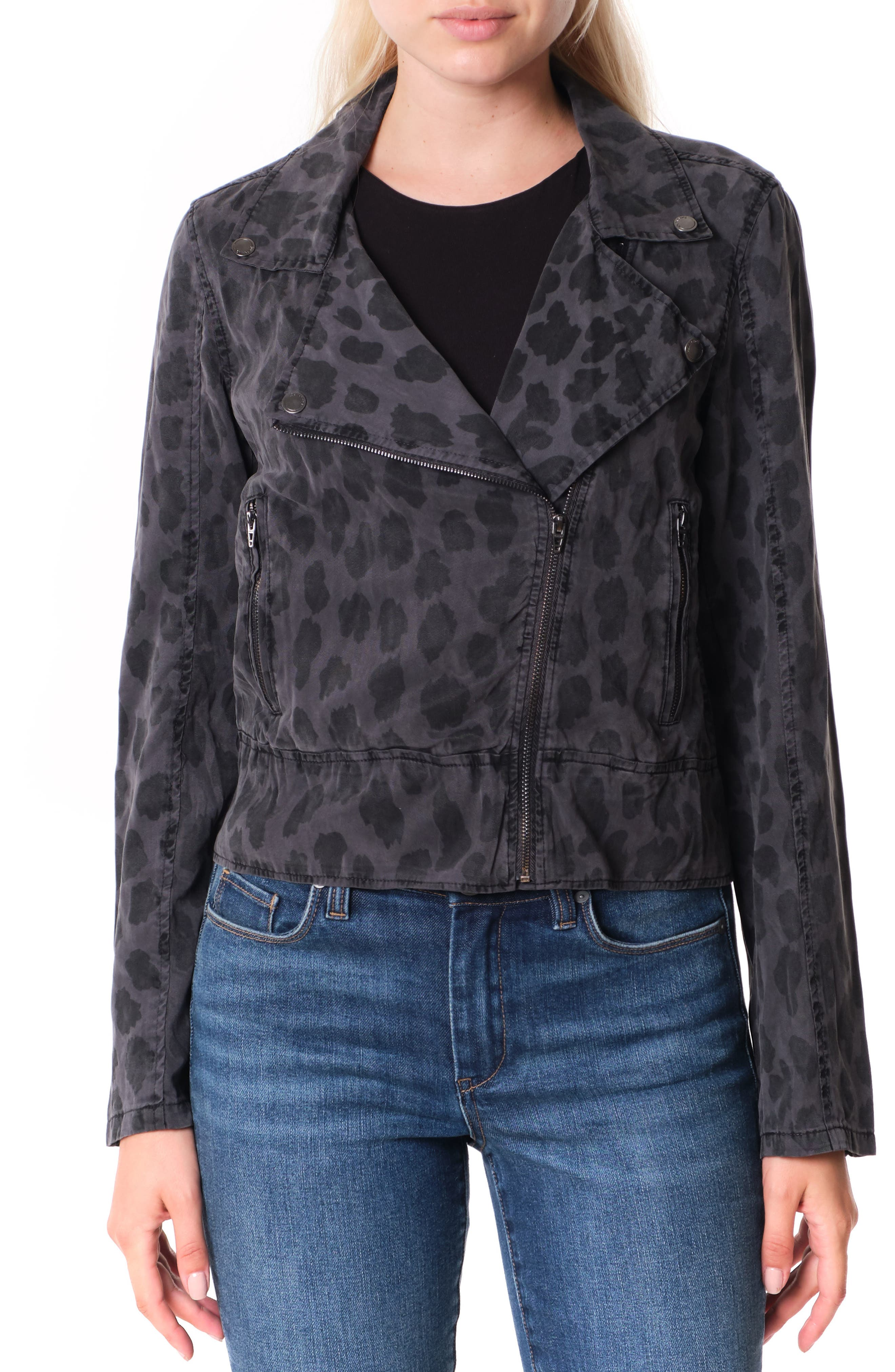 Women's Blanknyc Leopard Print Moto Jacket, Size X-Small - Grey