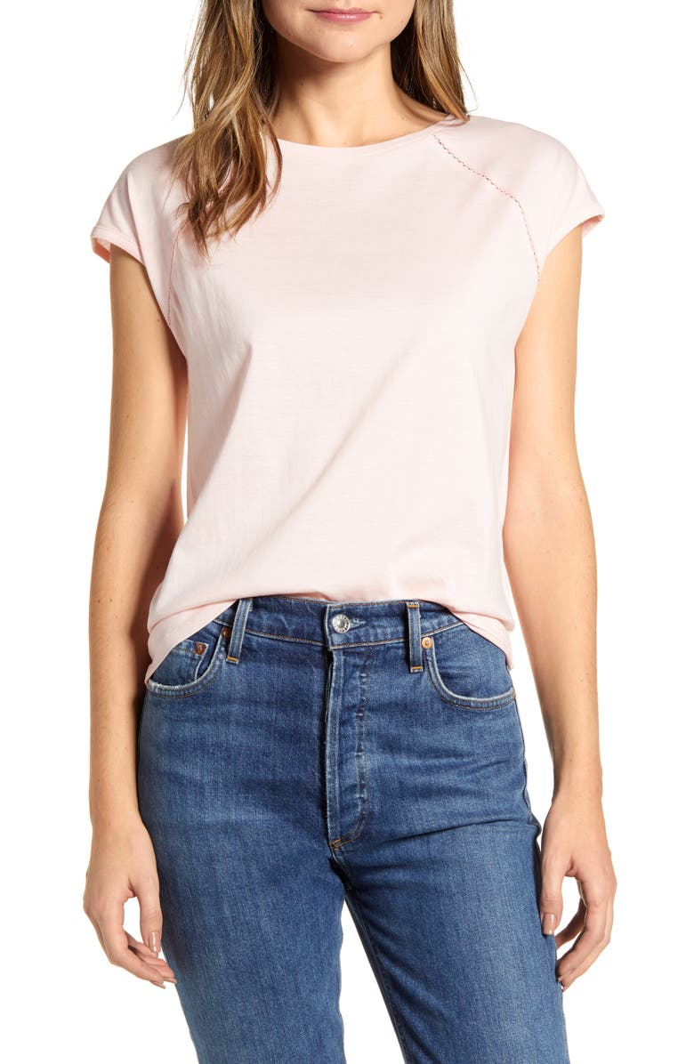 TOMMY HILFIGER Lace Trim Cap Sleeve Tee, Main, color, BALLERINA PINK
