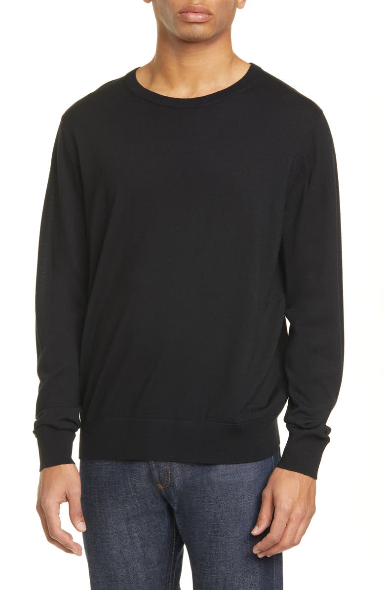 DRIES VAN NOTEN January Merino Wool Crewneck Sweater, Main, color, BLACK900