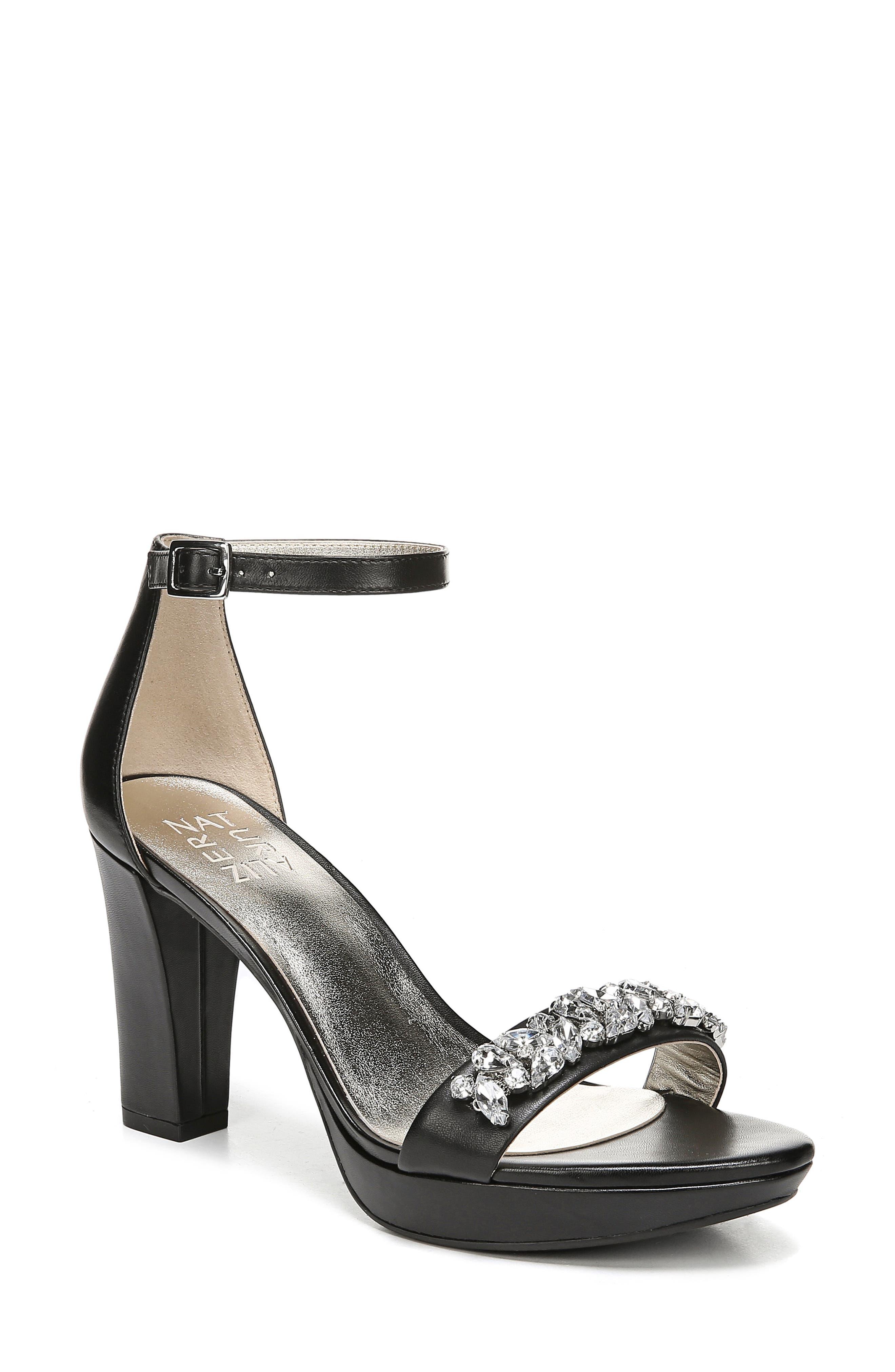 Cassano Crystal Embellished Sandal, Main, color, BLACK LEATHER