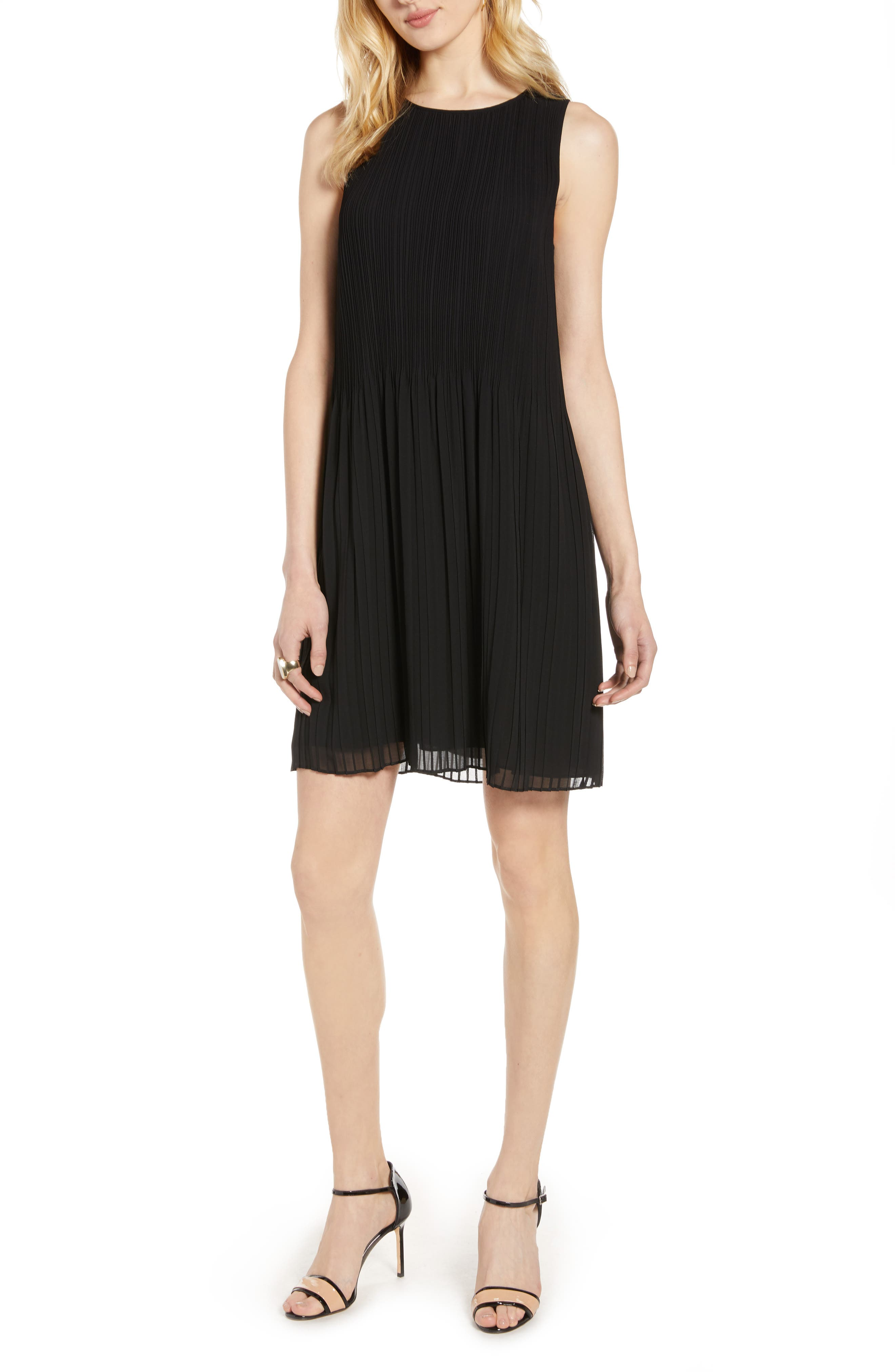Halogen® Pleated Sleeveless Shift Dress (Regular & Petite)