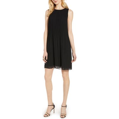 Halogen Pleated Sleeveless Shift Dress, Black