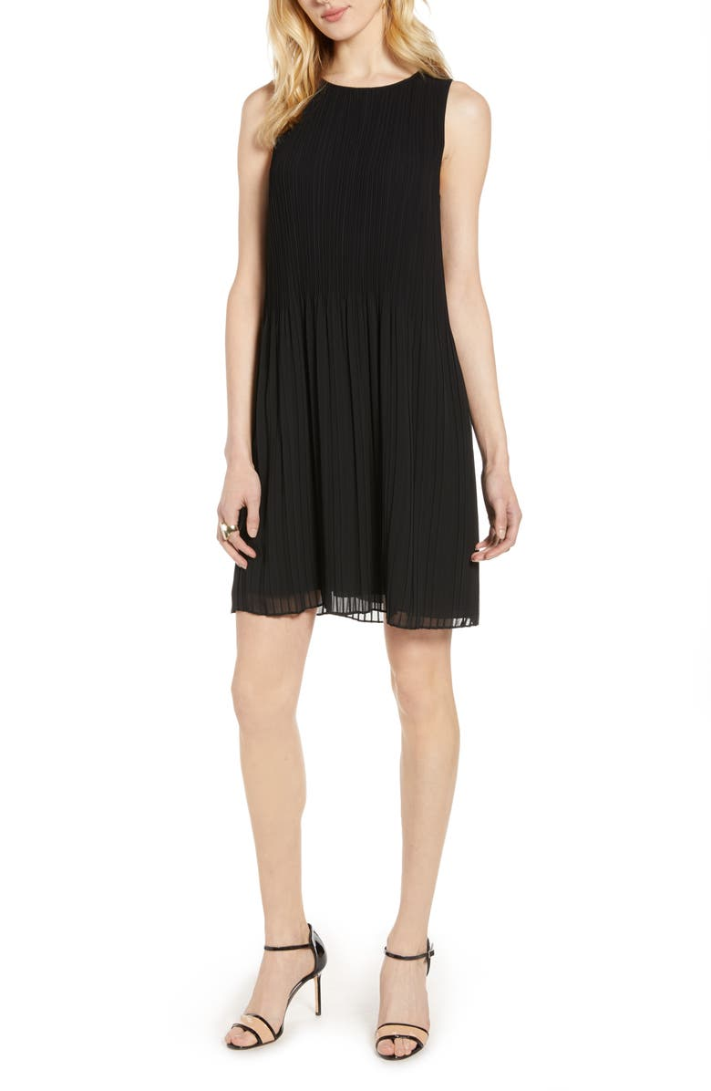 HALOGEN<SUP>®</SUP> Pleated Sleeveless Shift Dress, Main, color, BLACK