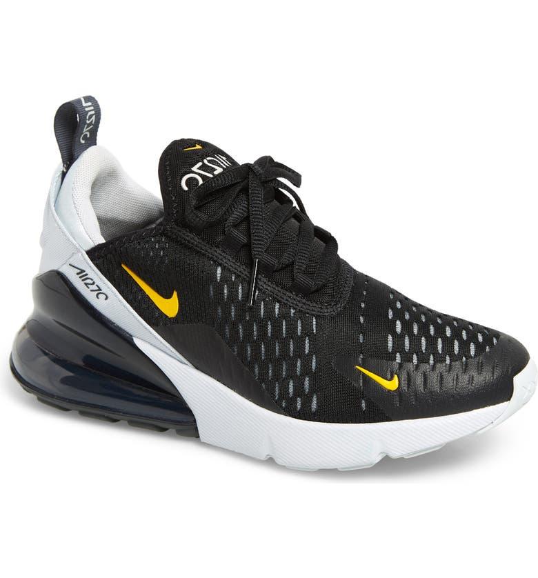 NIKE Air Max 270 Sneaker, Main, color, BLACK/ AMARILLO-PLATINUM
