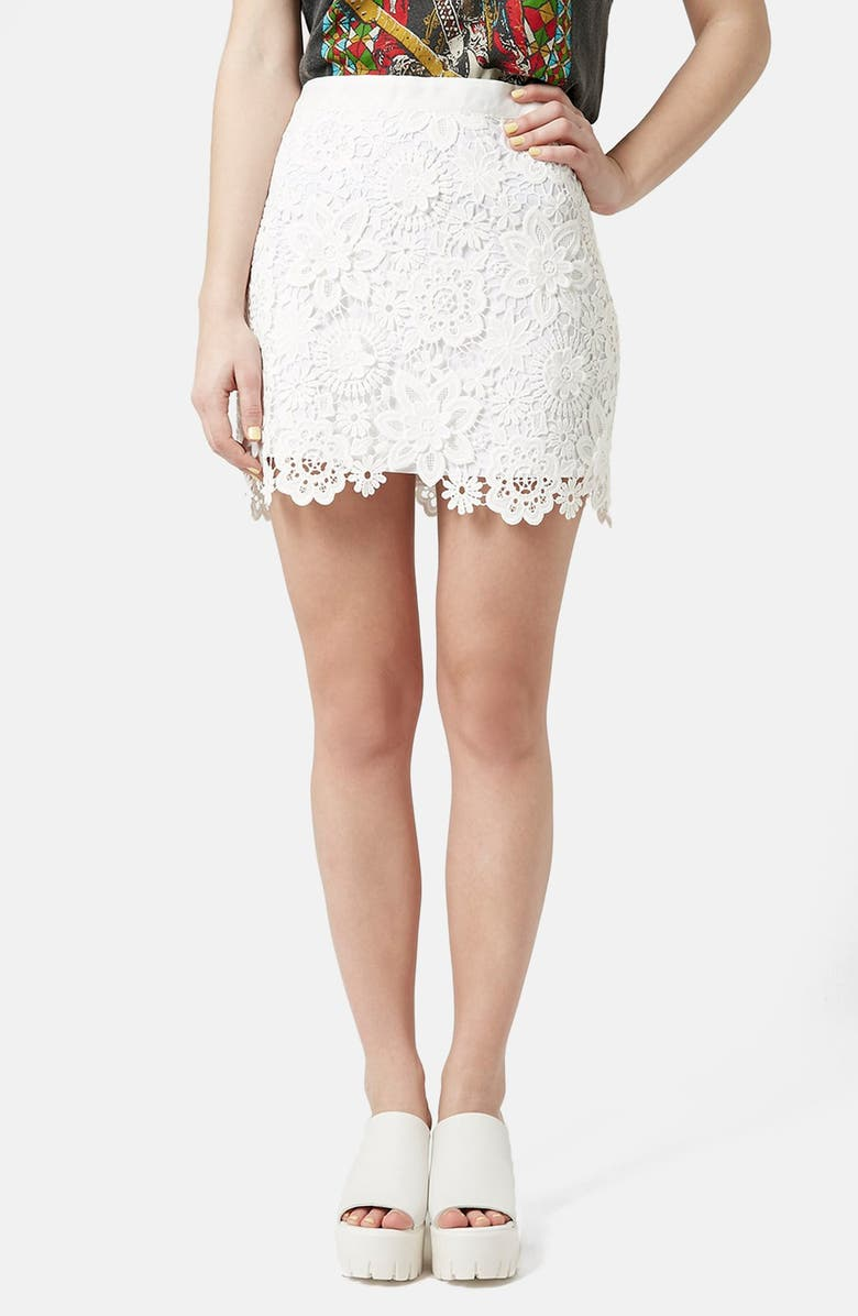 TOPSHOP Crochet Lace Miniskirt, Main, color, 100