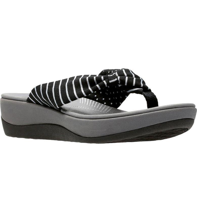 CLARKS<SUP>®</SUP> Arla Glison Flip Flop, Main, color, BLACK PRINTED FABRIC