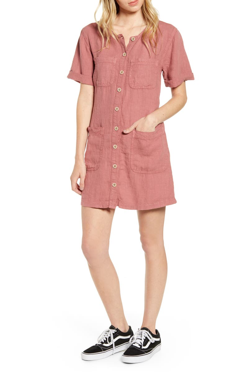BDG Urban Outfitters Linen Utility Minidress, Main, color, ROSE