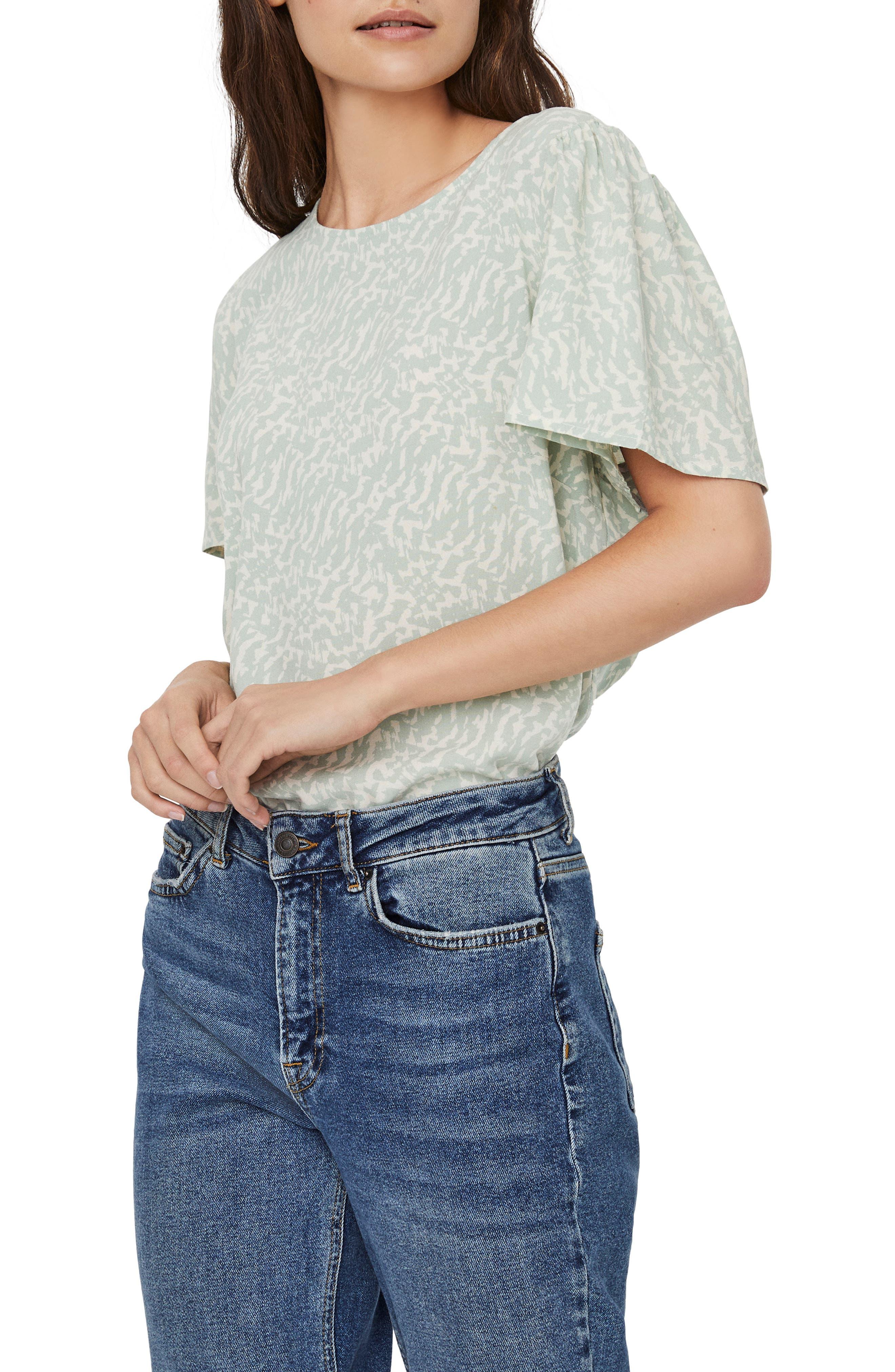 Ohanna Print Flutter Sleeve Top