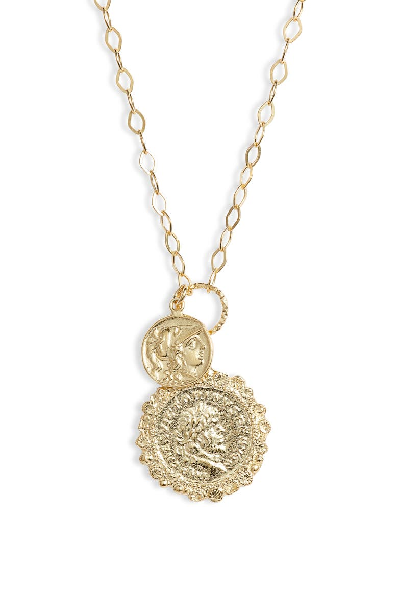 ADINA'S JEWELS Double Coin Necklace, Main, color, 710