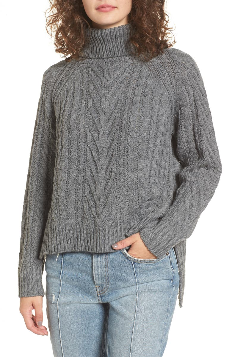 DREAMERS BY DEBUT Cable Knit Turtleneck Sweater, Main, color, 020