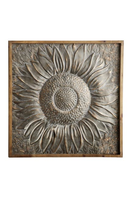 "Image of Willow Row Large Framed Metal Sunflower Wall Decor - 39"" x 39"""