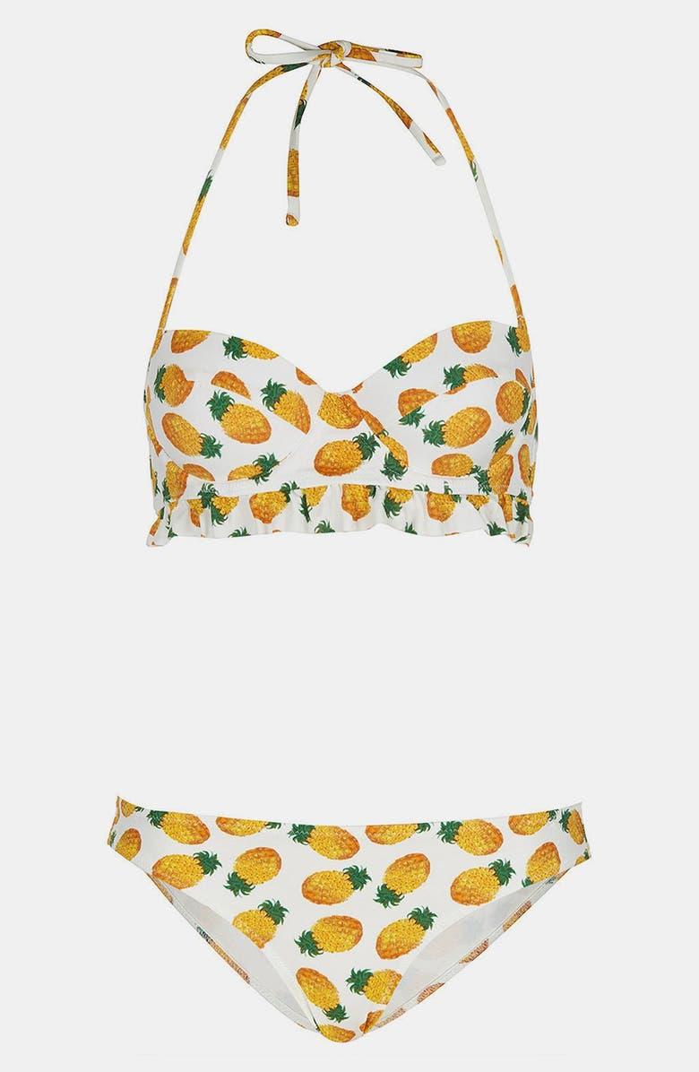 TOPSHOP Pineapple Print Bikini, Main, color, 100