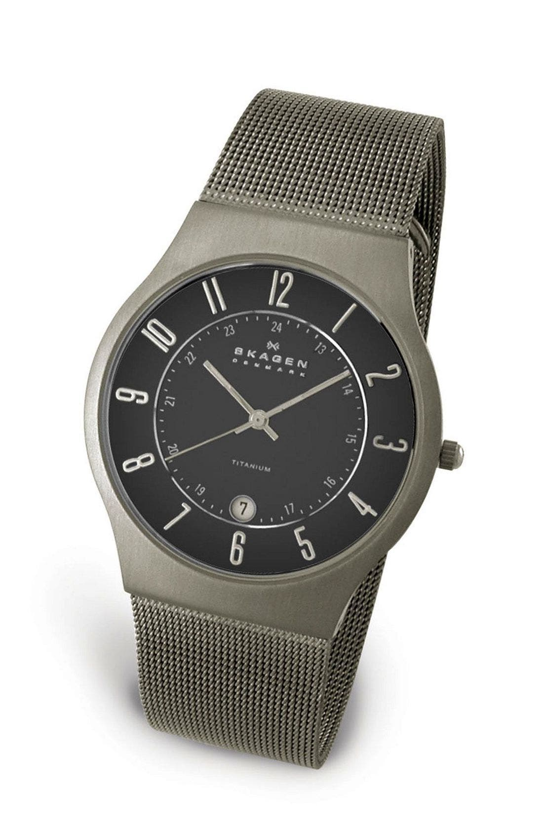 ,                             'Grenen' Titanium Case Watch,                             Main thumbnail 13, color,                             BKS