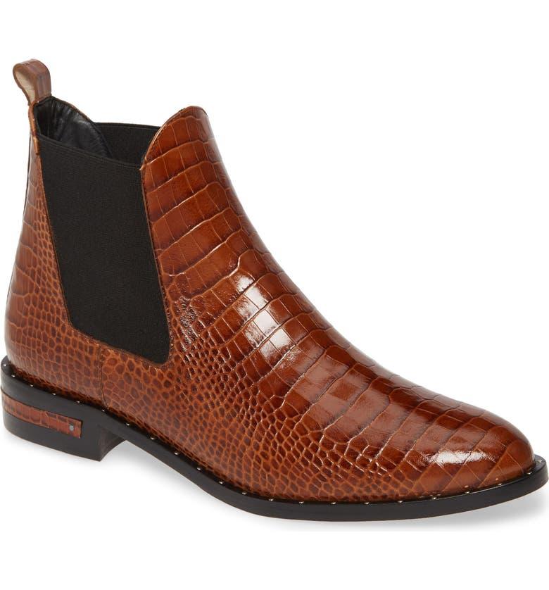 FREDA SALVADOR Sleek Chelsea Boot, Main, color, TOFFEE EMBOSSED CROC